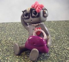 Nerd Girl Robot 2 (Sleepy Robot 13) Tags: pink nerd purple nerdgirl polymerclayurbanvinylsleepyrobot13etsysilvercraftcraftscraftingsculptingsculpturefigurinearthandmadecraftshowcutekawaiirobots
