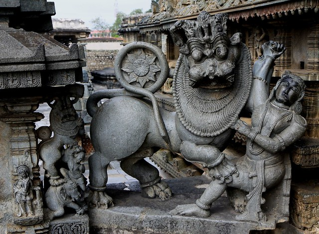 First Hoyasala fighting with a lion at Chennakesava Temple Complex, Belur (Karnataka)