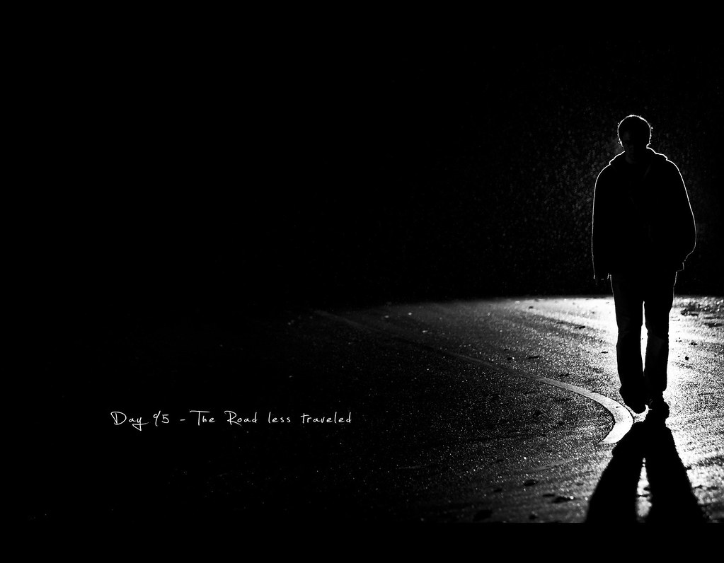 Day 95, 095/365, Project 365, Strobist, Bokeh, Self Portrait, road, the road less traveled, travel, alone, dark, silhouette, grid, black and white, B&W, ourdailychallenge, contrast, edgy, hard light, flash