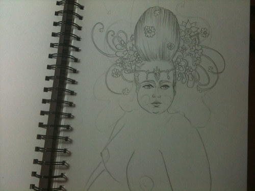 Photo of a page in my sketch book on which a pencil drawing of a young fat woman with an ornate headpiece sits.