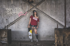 Skate Girl - Marie (www.michelconrad.fr) Tags: rouge canon eos6d eos 6d ef24105mmf4lisusm 24105mm 24105 femme modele blanc portrait studio girl skate batiments ancien abandon