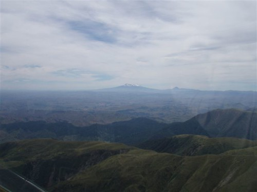 Mt. Ruapehu and National Park as viewed from overhead Kawhatau