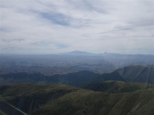 Mt. Ruapehu and National Park as viewed from overhead Kawhatau