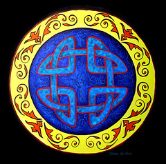 Celtic Knot by Denise A. Wells (Denise A. Wells) Tags: blue red art yellow painting paper spiral design artwork colorful paint artist acrylic bright unique knot celtic intricate celticknot illistration nativeamericanartist deniseawells denyceangel40yahoocom