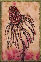 Coneflower No. 2sm (kbaxterpackwood) Tags: plant flower art botanical quilt natural embroidery harvest machine vegetable textile coneflower prairie compost dyed dyes
