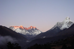 Everest, Lhotse and Ama Dablam, seen from Tengboche