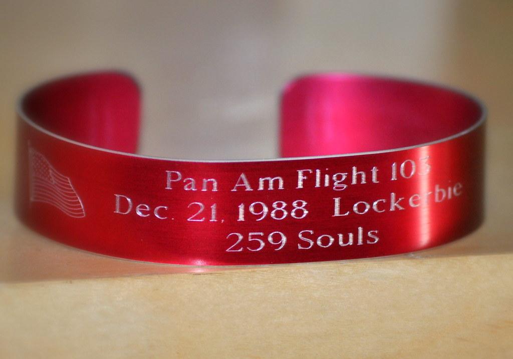 My Pan Am 103 Memorial Bracelet That I Wear - Pan American World Airways Flight 103 December 21, 1988
