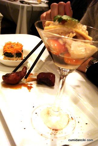 trio starter of old fashioned shanghai smoke fish, chilled drunken chicken in shaved ice and trio marinade in glutinous rice wine brine