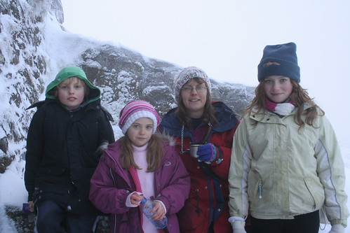 Carolyn and her children atop Moel Famau