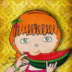 the only pips i don't mind eating (crosti) Tags: red summer cute art collage fruit illustration hair cool healthy strawberry cherries yum calendar mixedmedia christina ring watermelon eat pips illustrator collectors item 2010 numbered tsevis crosti