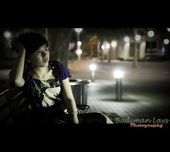 Wondering (Budiman Lays) Tags: street city light tree museum dark bench photography iso3200 soft bokeh bin perth rubbish wife canon7d