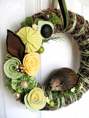 Hedgehog Wreath (KnockKnocking) Tags: brown cute art home wool mushroom vintage woodland moss spring handmade earth assemblage felt velvet yarn wreath round ribbon hedgehog decor knockknocking