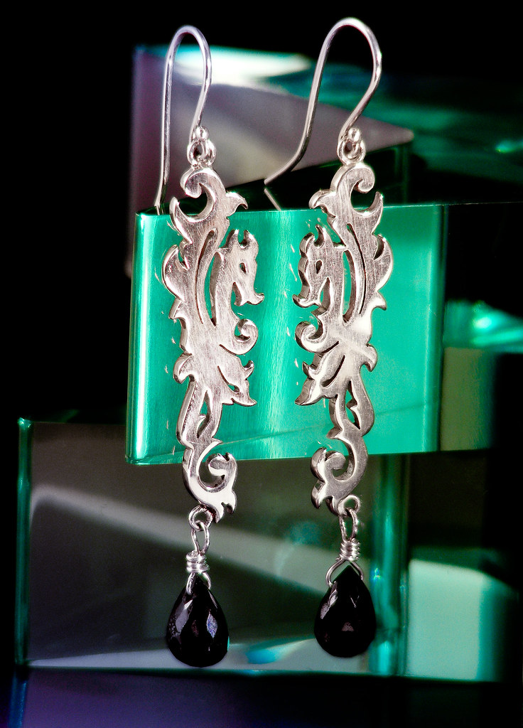 Silver Damask Dragon Earrings