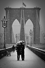 snowing in Brooklyn (Barry Yanowitz) Tags: nyc newyorkcity bridge blackandwhite bw usa snow ny newyork weather brooklyn us blackwhite bridges brooklynbridge snowing nycity