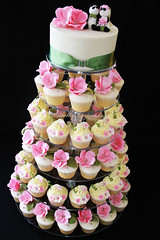 Summer Wedding! (Bella Cupcakes (Vanessa Iti)) Tags: birthday pink flowers wedding white silver ivory pandas mossgreen buttercream cupcaketower waitakereestate bellacupcakes