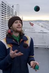 Brad (Aaron Licht) Tags: ocean travel winter smile ferry bc vancouverisland juggling newfriends