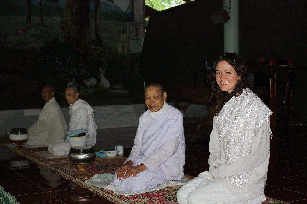 Kelly enjoying the busshist temple with nuns