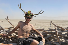 At Home (naturalturn) Tags: shirtless usa man art kilt nest nevada horns playa burningman blackrockcity horn 2009 burningman2009 image:rating=4 burningman:art=598 image:id=080288
