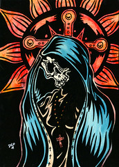 Day of the Dead Art -- Guadalupe Color (David Lozeau) Tags: angel painting dayofthedead skeleton religious skull prayer diadelosmuertos guadalupe tattooart patronsaint mexicanfolkart lozeau dayofthedeadart davidlozeauart davidlozeau dayofthedeadartwork mexicandayofthedeadart