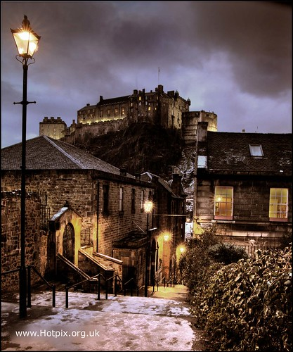 365-193 The Vennel, Browns Place , with view of Edinburgh Castle , Edinburgh Scotland at Dusk