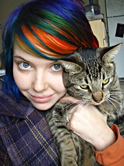 Leto and me!! (Megan is me...) Tags: pink blue red portrait orange cute green apple colors rose shirt club cat self hair photography grey diy mixed eyes kitten colorful neon pretty colours russell candy bright princess turquoise buttons oneofakind ooak meg gray violet plum kitty megan duke flame iguana jerome mandarin colored buckets dye plaid limelight tee mayhem punky dyed napalm leto specialeffects sfx peacoat rosered hosen megface bluehairedfreak meganisme meganyourface