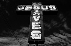 Jesus Saves (MilkaWay) Tags: film sign cross religion nikonf100 jesussaves jacksoncounty us441 nikkor28mmf28 convertedtoblackandwhite ruralgeorgia kodakektar100 baptisttabernaclechurch