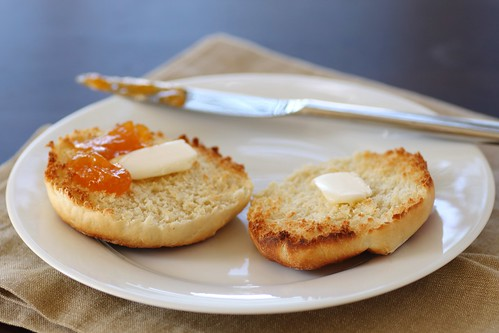 english muffin with butter and preserves