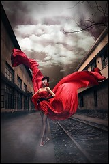 The Requiem (The Dream Seeker.) Tags: road light red sky woman colour girl female photo still dress image tracks picture rail pic shade requiem drama reddress                          returner      therequiem    colorphotoaward   artisawoman