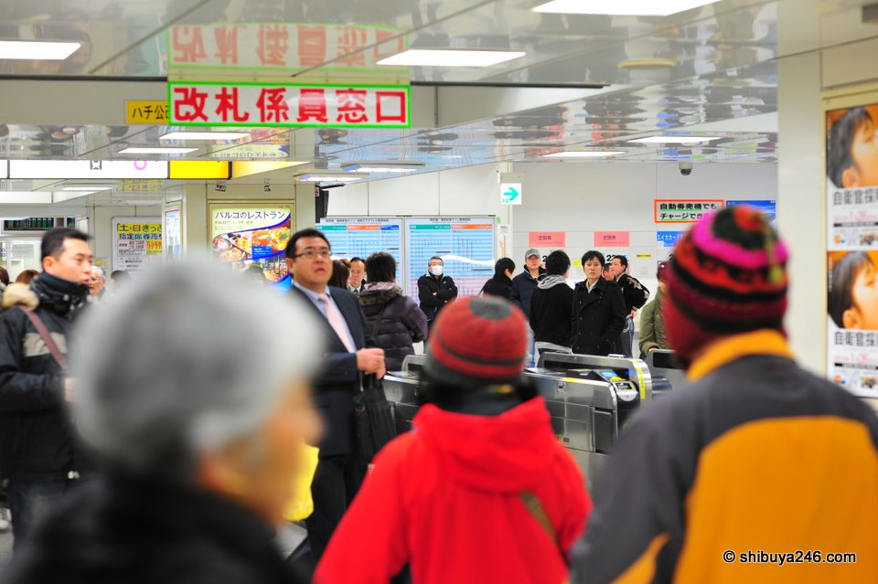 Many people hear the announcement that the trains are stopped and decide either to leave the station or not bother coming in. Normally the station runs so smoothly, but when the trains stop, everyone wants to ask questions and get directions. It can become a very busy place in no time.