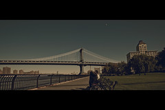 -|-o (- Loomax -) Tags: park newyork brooklyn couple manhattanbridge eastriver benches cinematic warmcolors cinemascope