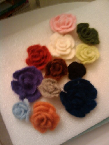 A Dozen Felted Flowers