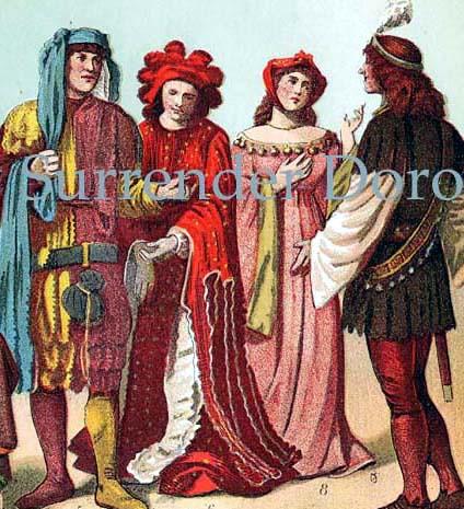 1906 Fabulous Fashions Of The Renaissance. Gorgeous Antique Chromolithograph