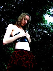 Nici 1257_2 (Thorbard) Tags: red portrait black color colour face contrast photoshop pose dark outside model moody underwear skin outdoor top gothic tube goth makeup posing skirt pale saturation processing potrait openair clutching tubetop photopaint