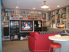 www.aadesignbuild.com, Film Critic's Home Office, Finished Basement Design and Remodeling, Film, Music and Books Library, Custome Shelves Book cases, Lighting, Home Theater, Aging in Place (A&A Design Build Remodeling, Inc.) Tags: lighting pink blue light color green germantown kitchen architecture bar bathroom shower design dc washington pub counter top basement maryland company architect tub attic builders potomac build bethesda architects contractor additions builder rockville remodeling park addition gaithersburg contractors room design county silver custom home spring office remodelers light table family theater pool top play master counter basement aa fixture montgomery aginginplace chase glen finished chevy bathroom echo tacoma remodeling