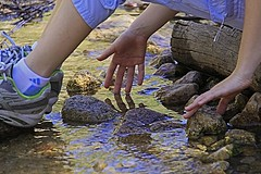 ~Day Dreamin~ (mikenpo) Tags: reflection water creek canon river hand fingers daughter relaxing caress softly daydreamin mikenpo