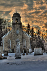 Wexford Church And Sky (ScottElliottSmithson) Tags: winter cemetery canon scott iowa harpersferry hdr smithson wexfordchurch wintercemetery dtwpuck scottsmithson scottelliottsmithson