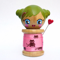 Quina - spool doll. (boxsquare.) Tags: wood pink anime flower cute hearts japanese diy wooden paint handmade sewing crafts pins buns kawaii owl cherub valentines ribbon etsy kokeshi giggles barrette spool oll mqsquare