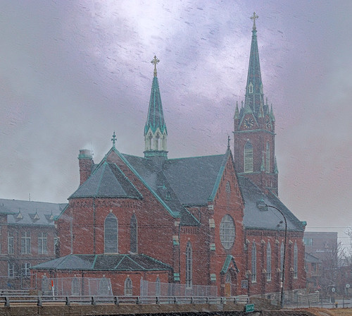 Saint Agatha Roman Catholic Church, in Saint Louis, Missouri, USA - view from back with snow