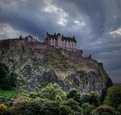 Edinburgh Castle (JohnnyB-1968) Tags: colour castle castles rock clouds scotland edinburgh europe swirl popular fortress hdr palaces cottages statelyhomes manorhouses anawesomeshot