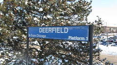 Wintertime at the Deerfield Illinois Metra commuter rail station. Thursday, February 11th 2010.