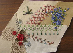 Cream 2 (Jo in NZ) Tags: embroidery crazyquilting tumblingblocks seamtreatments nzjo