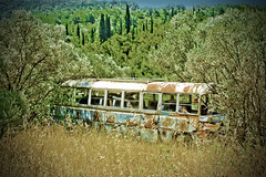 Local bus Samos (hansvdaa) Tags: bus abandoned decay parking greece samos parkeren griekenland verlaten