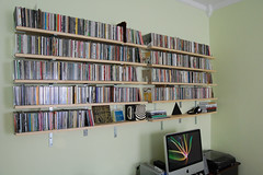Music CDs nicely filed on the wall