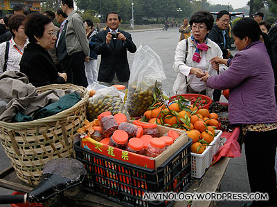 Buying fruits to snack on the bus