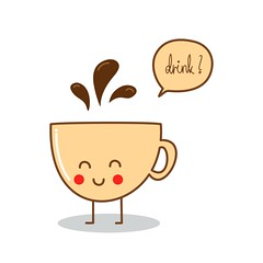 (tom april) Tags: hot cute cup coffee smile illustration happy yummy graphic drink character joy drinking tasty fresh enjoy illustrator simple vectors vector