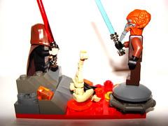 Mustafar Duel (Garrett Waters) Tags: light rock metal fire lava melting lego battle saber planet duel lightsaber droid magma koon count blaster molten mustafar plo dooku