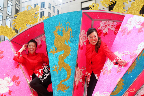 SF Chinese New Year Parade: Women in a Fan Float