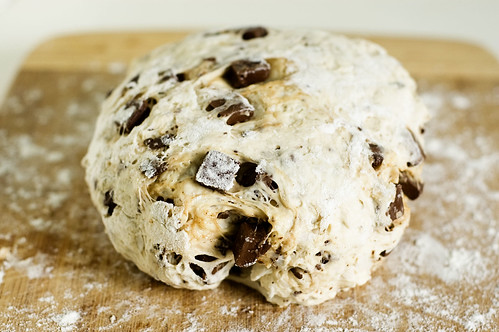 coconut chocolate bread - dough ball