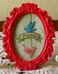 """Dream"" Frame (Farnum Ink Studio) Tags: original dream frame bluebird limitededition pinkbird farnuminkstudio hotpinkframe flourishgreenbackground"