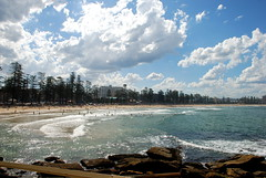 Manly Beach (chaFL) Tags: ocean trees sky clouds sand sydney sable nuages plage cile australie beache arbes nikond80